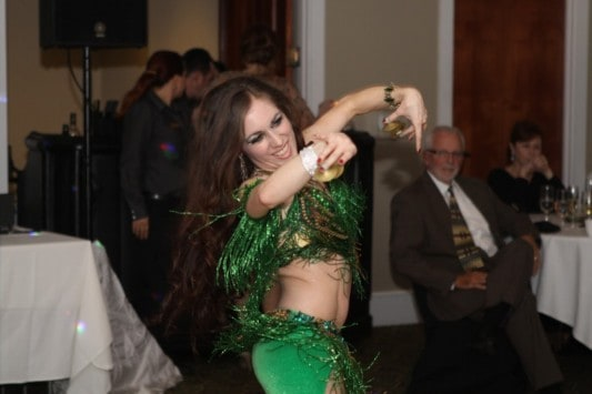 Carrara Nour performs Lebanese style belly dance at a wedding at Golden Bear Club, Windermere/Keene's Point, FL