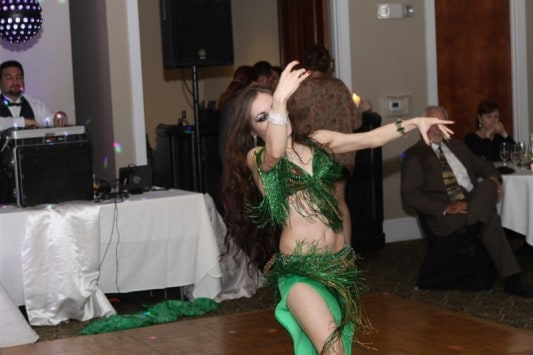 Carrara Nour belly dancing at a Lebanese/American wedding in Windermere, FL at Golden Bear Club