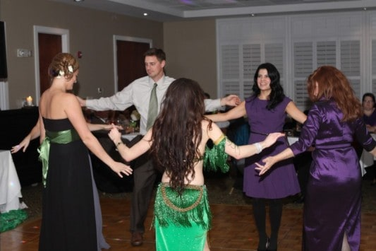 Carrara Nour gets the crowd up to dance at a wedding reception in Orlando