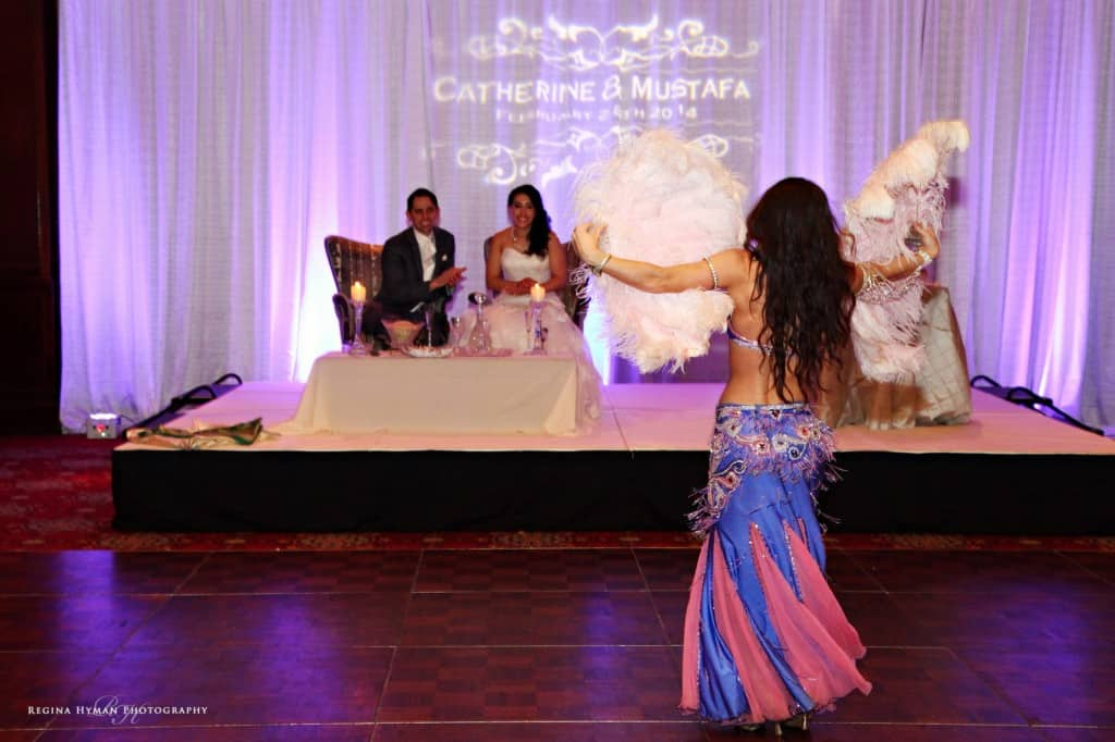 Belly dancer Carrara Nour of Orlando performs at an Egyptian/Afghan wedding at Ballroom at Church Street in Orlando