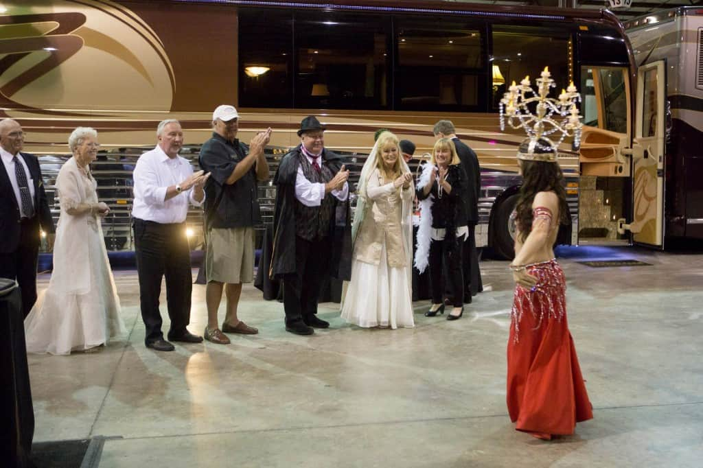 Carrara Nour, a Florida belly dancer, performs at a corporate event