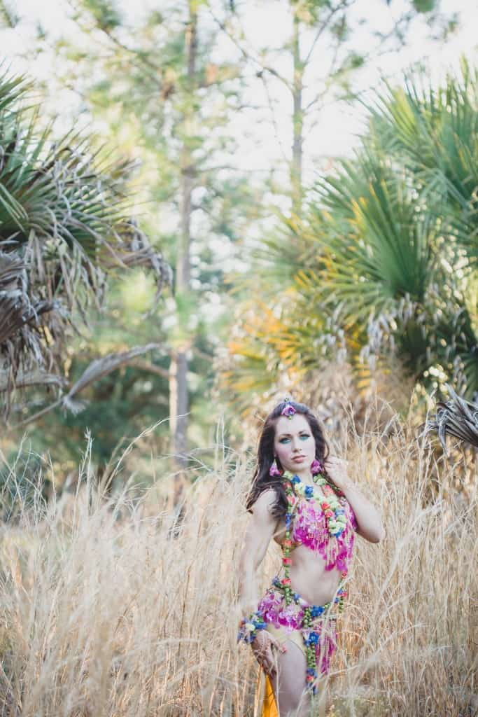 Holi photo shoot by Orlando belly dancer Carrara Nour, Ashley Jane Photography, Flower Girl Designs, and The Henna Studio