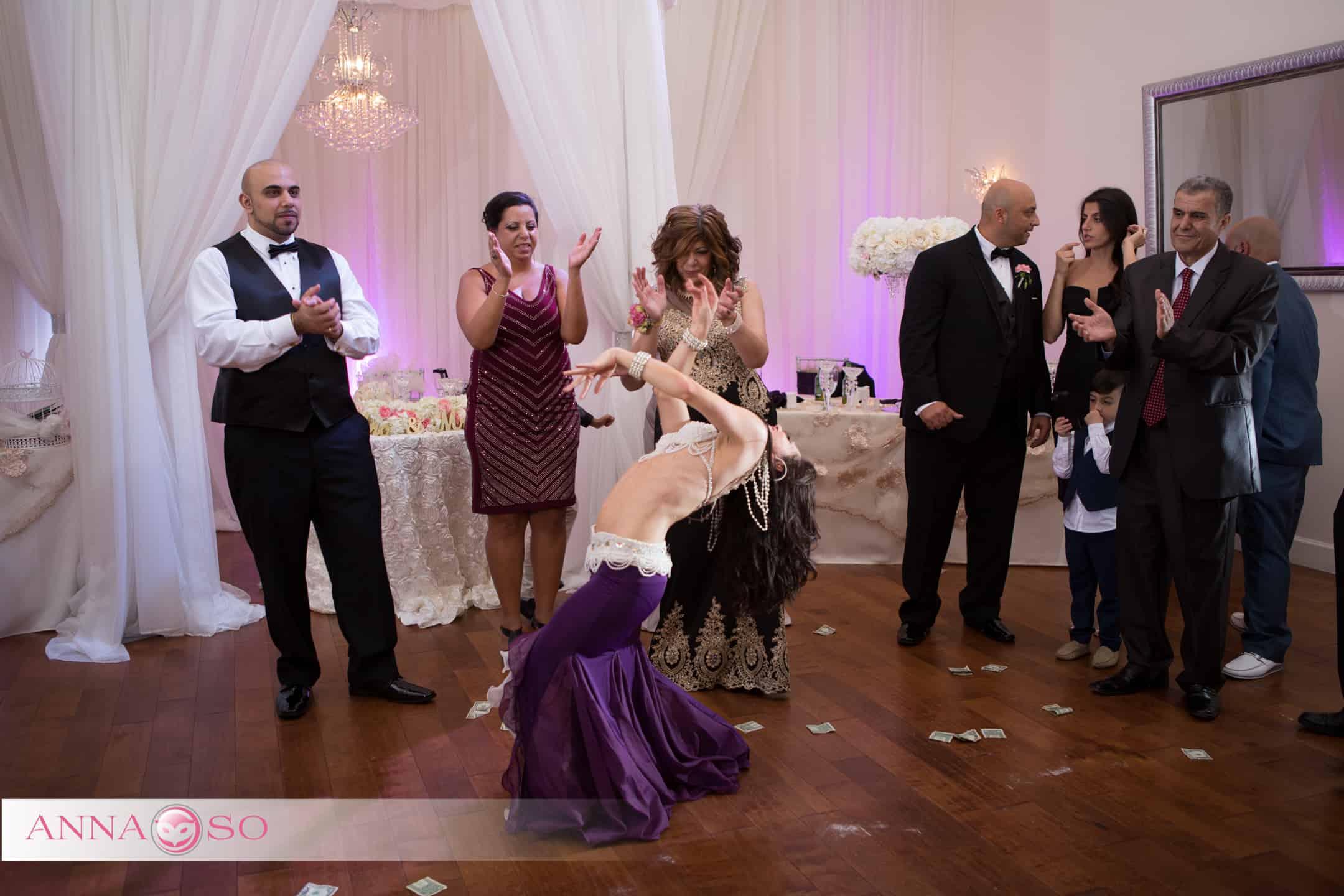 Carrara Nour (belly dancer Orlando) performs at an Egyptian wedding at Crystal Ballroom at Veranda MetroWest. Photography by Anna So
