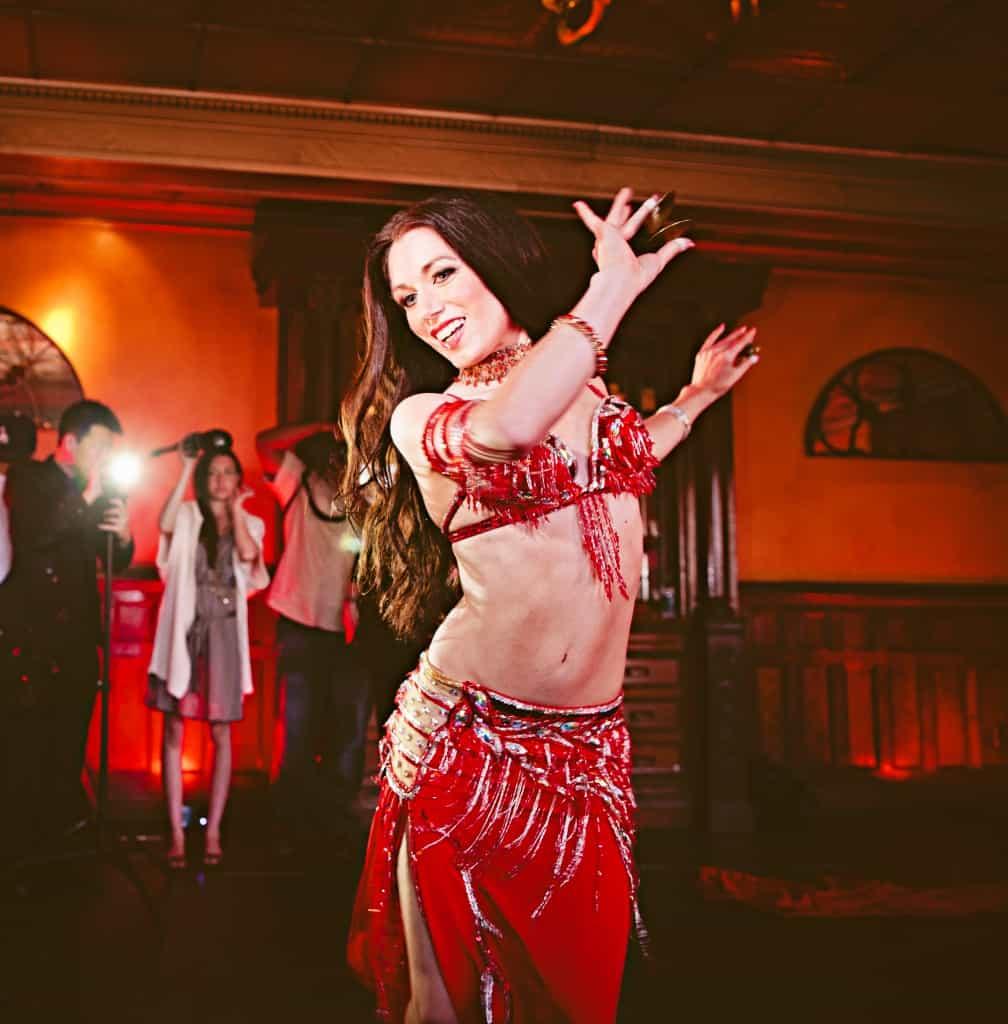 Carrara Nour modeling in a belly dance photo shoot at Ceviche Tapas, Orlando